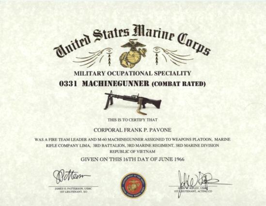 MOS 0331 USMC MACHINEGUNNER Certificate