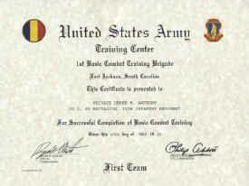 Army Basic Combat Training Certificate