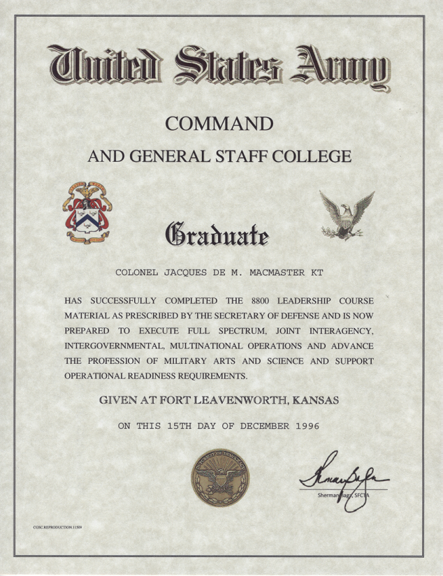 Command and General Staff College Certificate