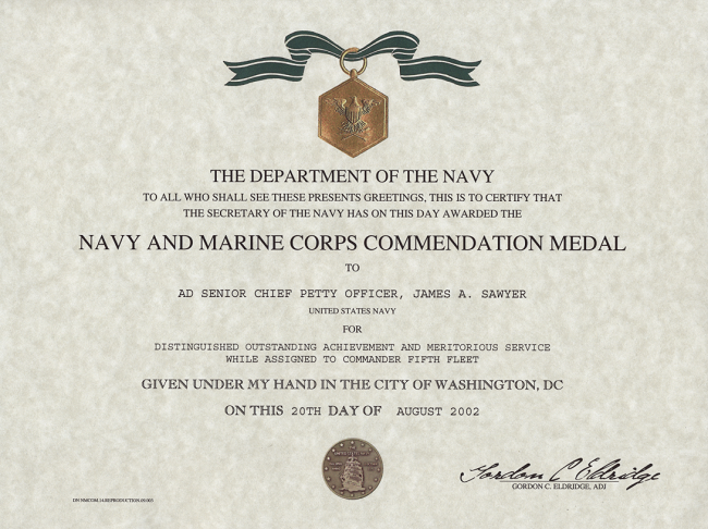 certificate of commendation usmc template - navy marine corps commendation medal