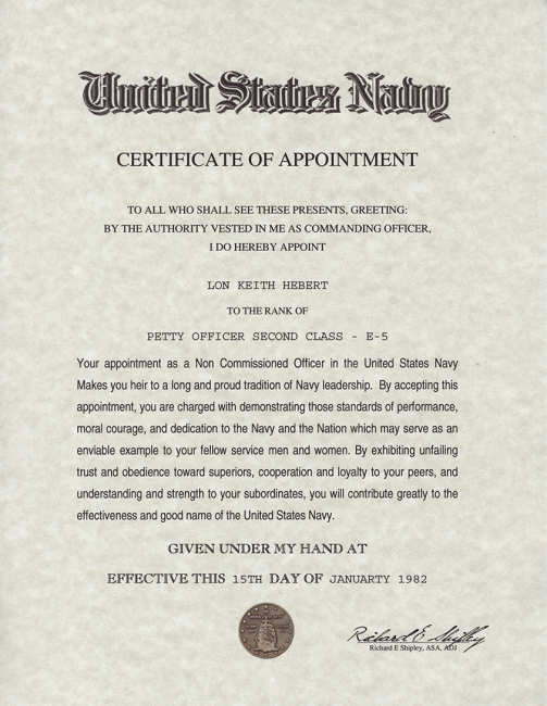 Sample certificate of appointment of corporate representative certificate appointment sample choice image certificate design army navy air force and marine corps nco appointment yelopaper Choice Image
