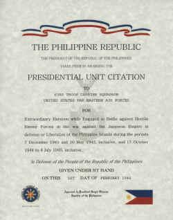 Republic of the Philioppines Presidential Unit Citation Certificate