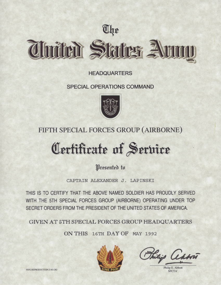 Us Special Forces Certificate Of Service