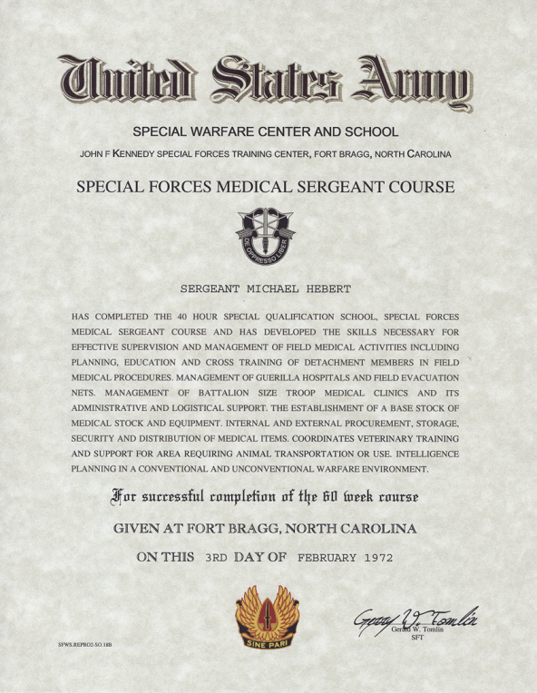 Special Forces Medical Sergeant Course Certificate