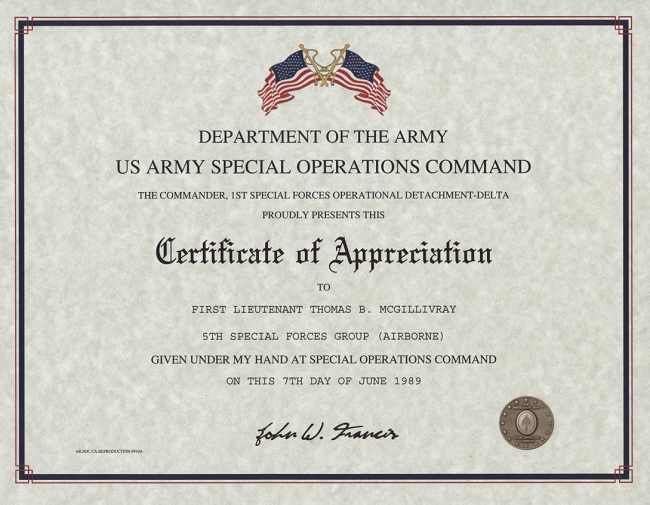 Special Operations Command Certificate of appreciation