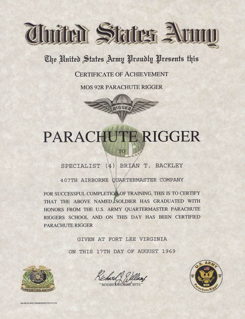 Army Parachute Rigger Certificate