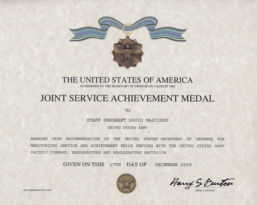 Army achievement medal certificate template download pdf