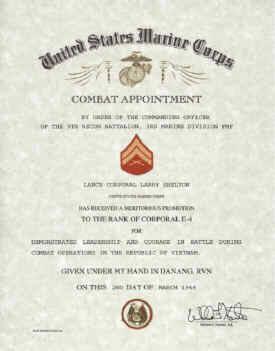combat promotion certificate
