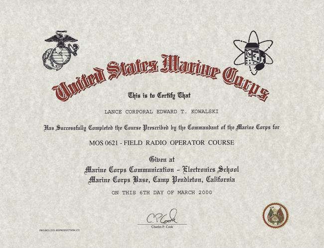 USMC Field Radio Operator Course Certificate