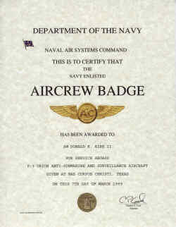 Navy Enlisted Aircrew Badge certificae