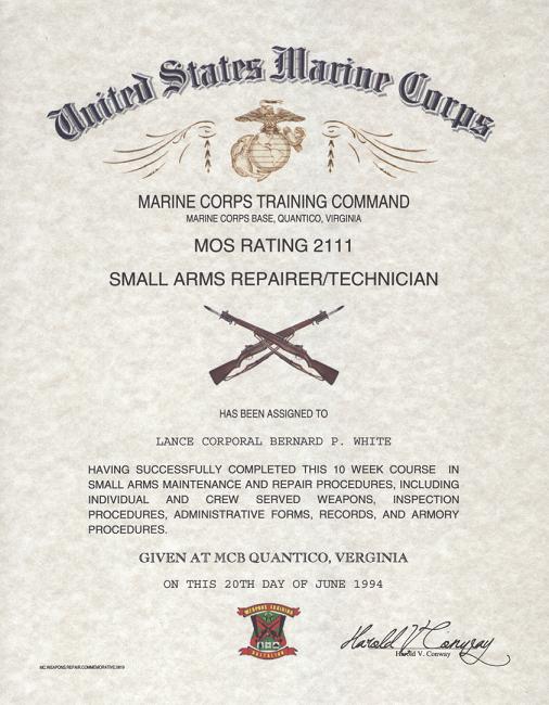USMC MOS 2111 Small Arms Repair Technician Certificate