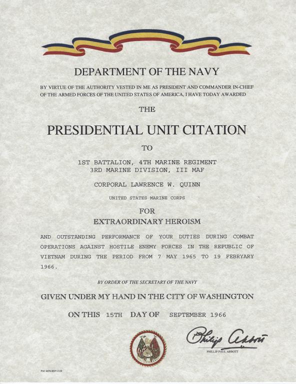 Navy/Marine Corps Presidential unit citation certificate